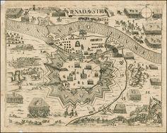 flutterknife: Battle of Vienna, September 1683 (map c. Old Maps, Antique Maps, Vintage Wall Art, Vintage World Maps, Antique Prints, Battle Of Vienna, Austria Map, Vienna Austria, Vienna Map