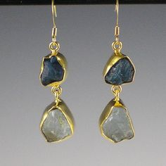 These earrings feature rough, raw blue apatite and aquamarine nuggets. Earrings are set in hammered 22-karat gold-plated brass bezels. UK seller. £13.99
