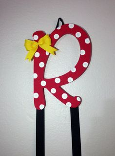 Minnie Mouse Inspired Initial Bow Holder by SamiBowtique