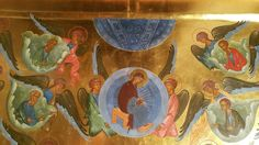 Верхняя часть композиции иконы Успения Б.М. Корнилиевский храм. ППМ. Работа игумена Зинона. 1985.