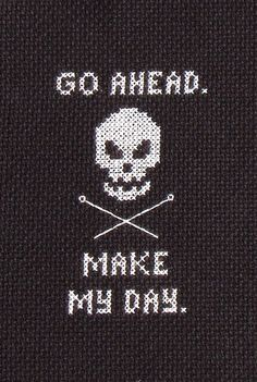 "make my day cross stitch - lol, this is bad ass Dirty Harry aka Clint Eastwood! XD hahah, ""well, do ya punk??"" hehehe XD -7/4/15- #happyFourthofJuly my people up in herre1! lol"
