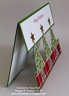 Stampin' Up! ... handmade Christmas card ... luv this open space design with punched out elements spanning the space between top and bottom panels on the card front ... Festival of Trees stamps ... by kindergarden