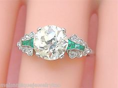 ART DECO 1.80ct YELLOW EUROPEAN DIAMOND EMERALD PLATINUM ENGAGEMENT RING CERT