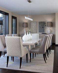 ideen einrichtung modernes esszimmer hellgrau creme weiß