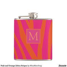 Pink and Orange Zebra Stripes Personalized Hip Flask