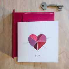 I heart....you! card with Handmade Envelope, Square!