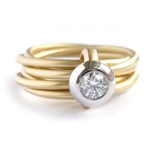 18k gold and platinum ring handmade by Sue Lane