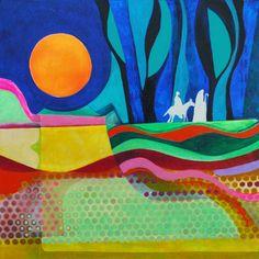 """Journey to Bethlehem, mixed media on panel, 18"""" x 18"""""""