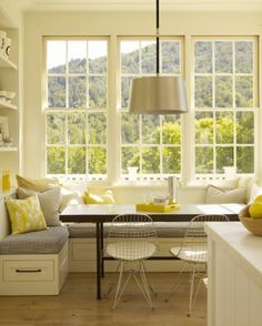 contemporary kitchen Bay window kitchen nook Bookshelf to left of window seat.back rest for sitting from that corner? Kitchen Ikea, Kitchen Benches, Kitchen Corner, Kitchen Storage, Kitchen Decor, Kitchen Booth Seating, Kitchen Dining, Kitchen Booths, Kitchen Banquette Ideas