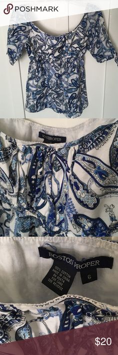 Boston Proper 100% cotton blue paisley print top Has elastic under the bust and flared bottom for a flattering fit. Sleeves tie closed and length is just above elbows. Boston Proper Tops Blouses