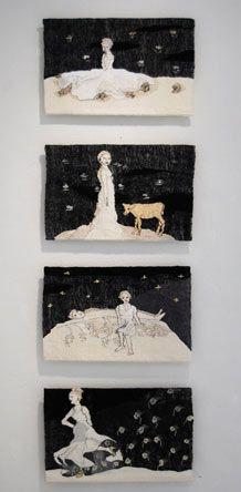 Artist Aino Kajaniemi West East, Tapestry Weaving, Textile Art, Figurative, Fiber Art, Weave, Collage, Textiles, Paintings