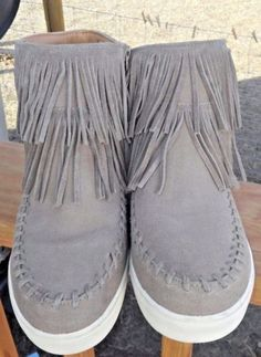Mossimo-Women-039-s-Tan-Suede-Leather-Ankle-Boots-W-Fringe-amp-Rubber-Soles-Sz-11