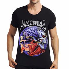 La MaxPa Summer Tops & Tees T Shirt Fashion Metallica Men T shirt Men Clothing Rock T-shirt Man Mens Music 3D Print T-shirt #Affiliate