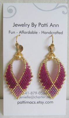 I first created this two-tone pattern style of Russian Leaf earrings back in 2009... thought I would start making these again.  I purchased this pattern online (not Etsy) & slightly modified the pattern shape to make it my own...please do not copy, thank you! :)  These pretty Russian leaf earrings are handmade with transparent raspberry, color-lined magenta rainbow & golden delica seed beads with golden Swarovski glass pearls.   They measure just under 2 long including the leverback earwire…