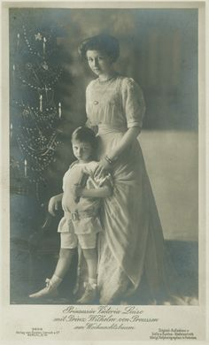 Princess Viktoria Luise of Prussia with little nephew, Prince Wilhelm.