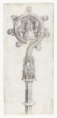 Bisschopsstaf met tronende Maria met Christuskind, Martin Schongauer, 1475 - 1480