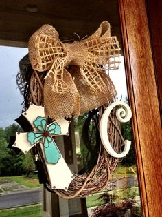 Custom Grapevine Cross Wreath with burlap and jute ribbon bow