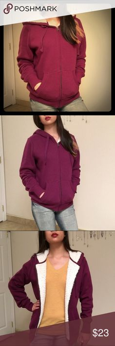 Faux-Wool-Lined Zip-Up Hoodie Very soft, warm, comfortable, and cozy! Ideal for cold weather! Outer is a soft purple. Lining is off-white and feels like wool. Two front pockets. Zip closure. Drawstring hood. Ribbed at bottom hem, cuffs, and pockets. Tag says M (8-10), but could fit S/M. Pre-loved! Excellent condition! 😘 Please feel free to ask any question or make an offer! Faded Glory Tops Sweatshirts & Hoodies