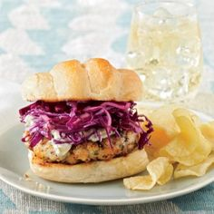 Blackened Grouper Burgers with Red Cabbage Slaw - Our Best Burger Recipes - Coastal Living Mobile