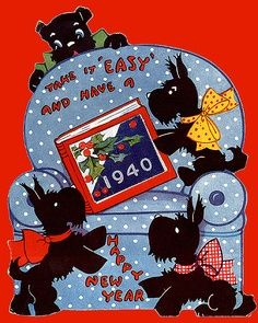 1940s New Year #Scottie Dogs. here are Some Scottie Facts You May Not Know: http://wp.me/p3czXo-os #scotty