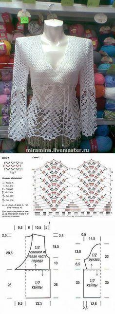 New Ideas Crochet Summer Sweater Pattern Lace Tops Gilet Crochet, Crochet Cardigan Pattern, Crochet Socks, Crochet Jacket, Crochet Blouse, Crochet Shawl, Crochet Clothes, Knit Crochet, Crochet Patterns