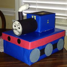 This is a Thomas the train valentine card holder box that my son Jaxson and I made from his Valentine's party at his daycare!!