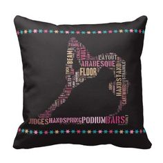 Gymnastics typography pillow with the text forming the shape of a gymnast in a back-bend on the beam.
