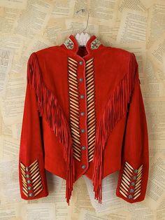 Vintage Red Suede Southwestern Fringe Jacket- The most beautiful jacket I've ever seen Western Outfits, Boho Outfits, Western Wear, Classy Outfits, Fashion Outfits, Classy Clothes, Fringe Fashion, Boho Fashion, Vintage Fashion