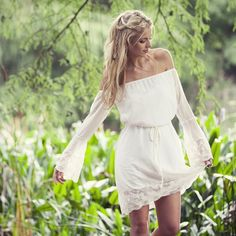 Orchid Off-Shoulder Dress  R240 only 4 left in stock!  #boho #bohemian #lace #dress  #photography #nature Orchids, Shoulder Dress, Off The Shoulder, White Dress, Lace Dress, Nature, Dresses With Sleeves, Bohemian, Photography