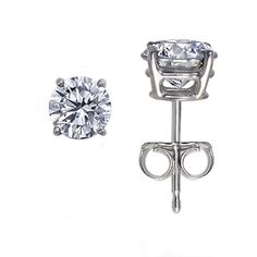 delicate diamond earrings:) 18K White Gold Round Diamond Stud Earrings (1/5 ct.tw.) from Brilliant Earth