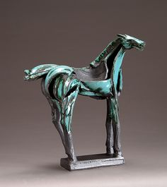 Turquoise Tribute Horse by Jeri Hollister: Ceramic Sculpture available at www.artfulhome.com