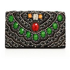 Alice and Olivia Beaded Textile Clutch (2 010 PLN) ❤ liked on Polyvore featuring bags, handbags, clutches, apparel & accessories, black multi, multi color purse, multi colored clutches, flap handbags, multi color handbag and beaded handbag