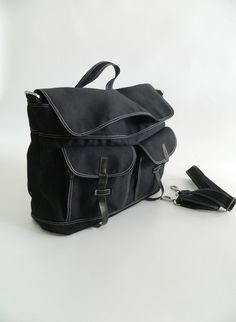 10% SALE - Mackenzie in Black // Satchel / Messenger / Laptop / Diaper bag / Tote / Handbag / For Him / For Her / Women on Etsy, $65.00