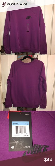 Nike Crewneck Sweatshirt color: purple with black accents on the logo size: medium brand new with tags in amazing condition the sweatshirt would look great with leggings or jeans for a lazy day! always accepting offers! Nike Tops Sweatshirts & Hoodies