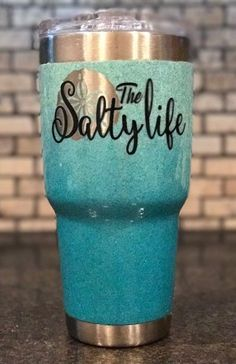 """The Salty Life"" three color ombre glitter fade, 30 oz stainless steel tumbler with clear coat"