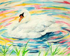 White Swan Watercolor Print  Colorful Mute by SeaSideCreations1
