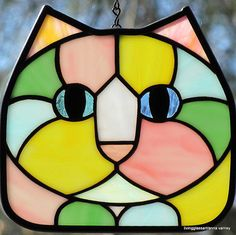 cat Suncatcher | Stained Glass Pastel Calico Cat Face Suncatcher by LivingGlassArt