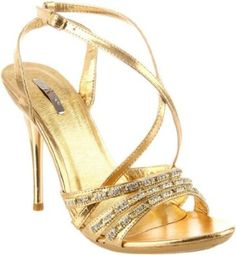 £34.00  Shoehorne Ocean-10- Womens Gold Strappy High Heeled Evening Bridal Party Sandals Sparkling Rhinestone/Diamante Straps - Avail in Ladies Size 3-8 UK: Amazon.co.uk: Shoes  Accessories
