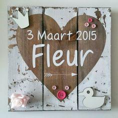 Geboortebord Fleur ☆ Troetel.com