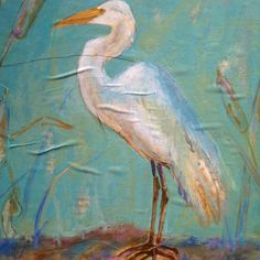 Great Egret--acrylic and oil on Decoupaged book pages