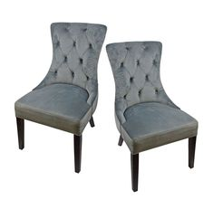 £184.99 Pair of Velvet Button Effect Dining Chairs Grey Seating Seat Accent Occasional
