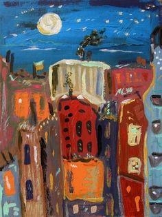 City Landscape Naive Folk Outsider Self Taught Mary Carol Art MCW Primitive | eBay