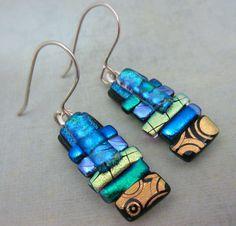 Golden Garden Dichroic glass earrings fused glass by McCrayStudios