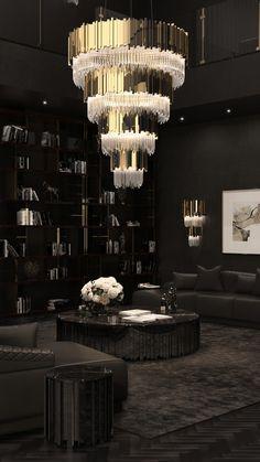 Black Bedroom Design, Home Room Design, Home Interior Design, Living Room Designs, House Design, Gold Interior, Luxury Homes Interior, Luxury Home Decor, Dream House Interior