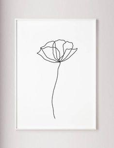 Mohnblüte Wand Linie Kunstdruck minimalistische moderne Kunst
