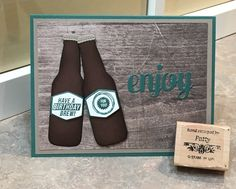 Stampin' Up! Bubble Over and Bottles & Bubbles Framelits birthday card, Woodgrain DSP,Tranquil Tide Cardstock and ink pad, Early Espresso Cardstock Birthday Cards For Men, Handmade Birthday Cards, Beer Bottles, Wine Bottle Crafts, Bubble Bottle, Boy Cards, Altered Bottles, Marianne Design, Masculine Cards