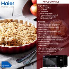 A delicious sweet treat  made easily with Haier's microwaves.