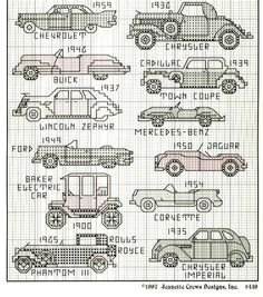 Gallery of classic cars Blackwork Embroidery, Cross Stitch Embroidery, Embroidery Patterns, Counted Cross Stitch Patterns, Cross Stitch Designs, Cross Stitch Numbers, Small Cross Stitch, Crochet Cross, Buick