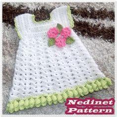 Crochet baby dress pattern,flower edge