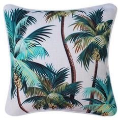 Oasis Outdoor Cushion - Palm Trees Natural 45cm X 45cm (78 NZD) ❤ liked on Polyvore featuring home, outdoors, outdoor palm plants, outdoor palms and outdoor palm tree